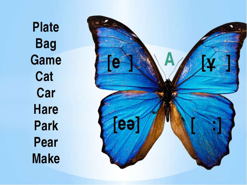 Plate Bag Game Cat Car Hare Park Pear Make [ǽ] [eι] [eә] [Ɑ:] A