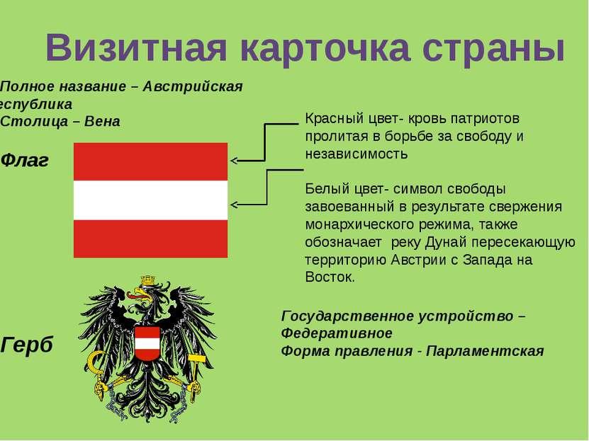 Полное название – Австрийская республика Столица – Вена Флаг Герб Государстве...