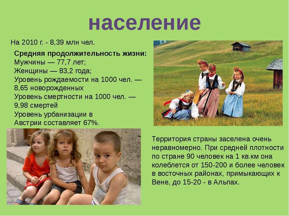 На 2010 г. - 8,39 млн чел. Средняя продолжительность жизни: Мужчины— 77,7 ле...