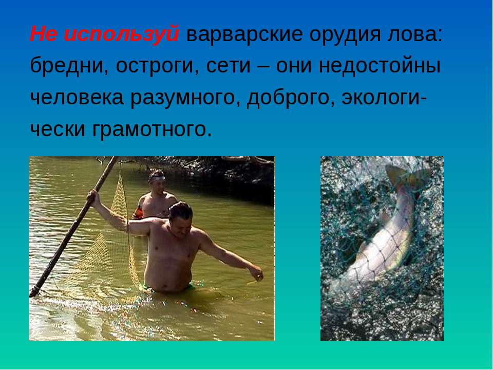Не используй варварские орудия лова: бредни, остроги, сети – они недостойны ч...