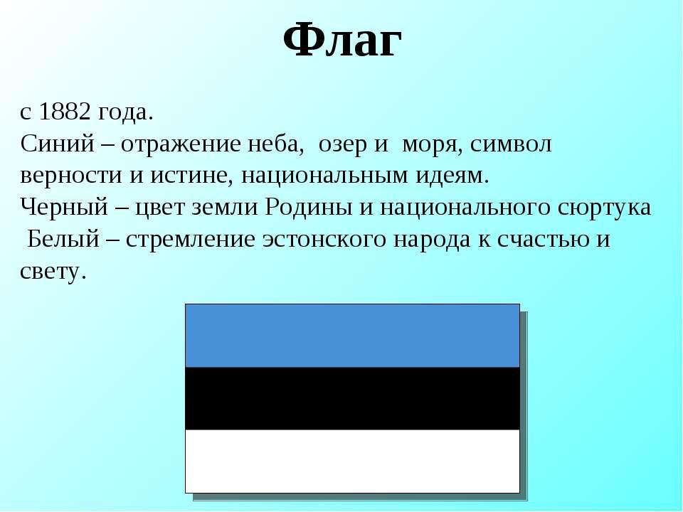 Флаг с 1882 года. Синий – отражение неба, озер и моря, символ верности и исти...