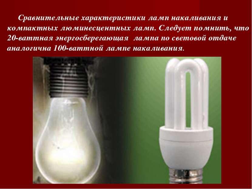 Сравнительные характеристики ламп накаливания и компактных люминесцентных лам...