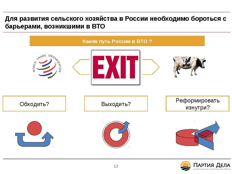 Для развития сельского хозяйства в России необходимо бороться с барьерами, во...