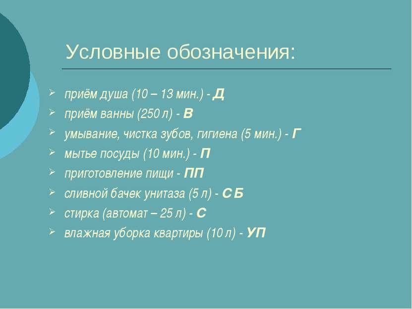 Условные обозначения: приём душа (10 – 13 мин.) - Д приём ванны (250 л) - В у...