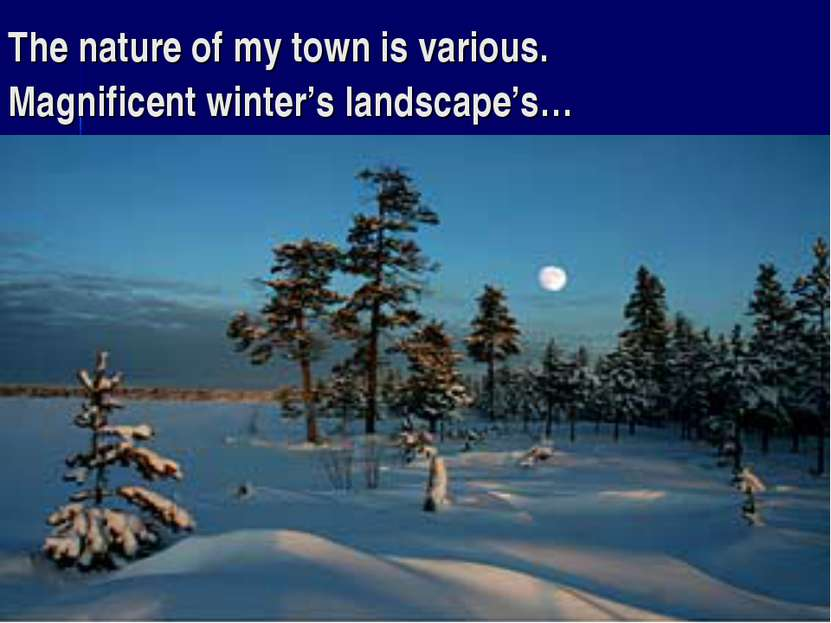 The nature of my town is various. Magnificent winter's landscape's…