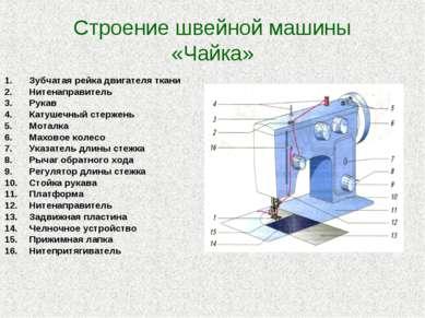 Строение швейной машины «Чайка» Зубчатая рейка двигателя ткани Нитенаправител...
