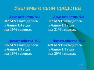 Ваши доходы повысились на: Домохозяйство №1 635,532MNT Домохозяйство №3 634,7...