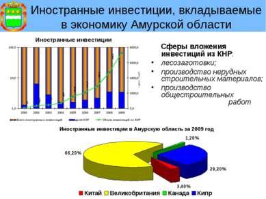Иностранные инвестиции, вкладываемые в экономику Амурской области Сферы вложе...