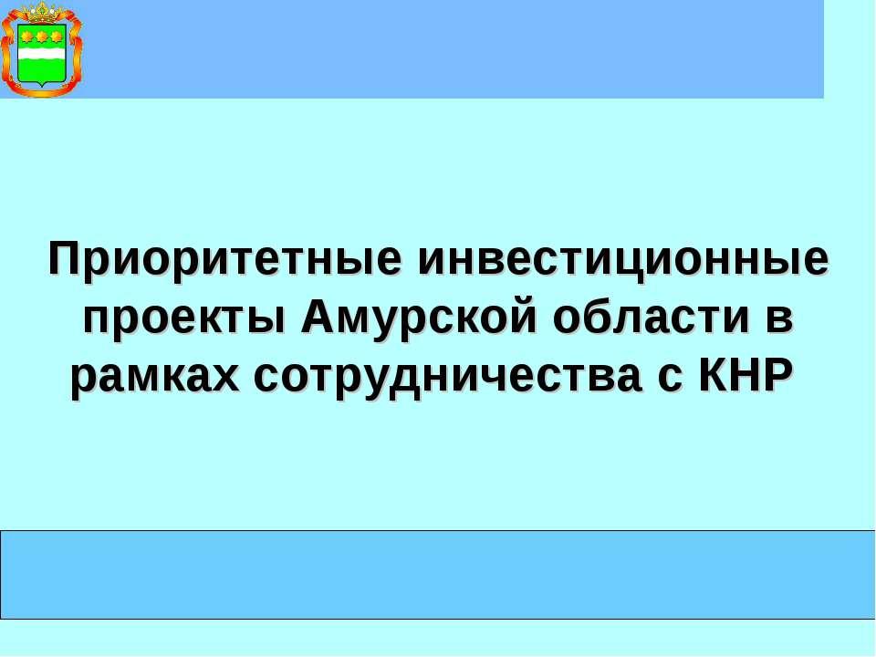 Приоритетные инвестиционные проекты Амурской области в рамках сотрудничества ...