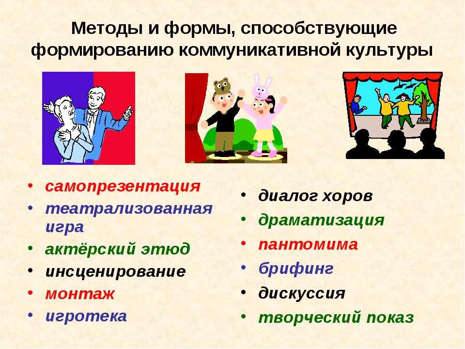 Методы и формы, способствующие формированию коммуникативной культуры самопрез...
