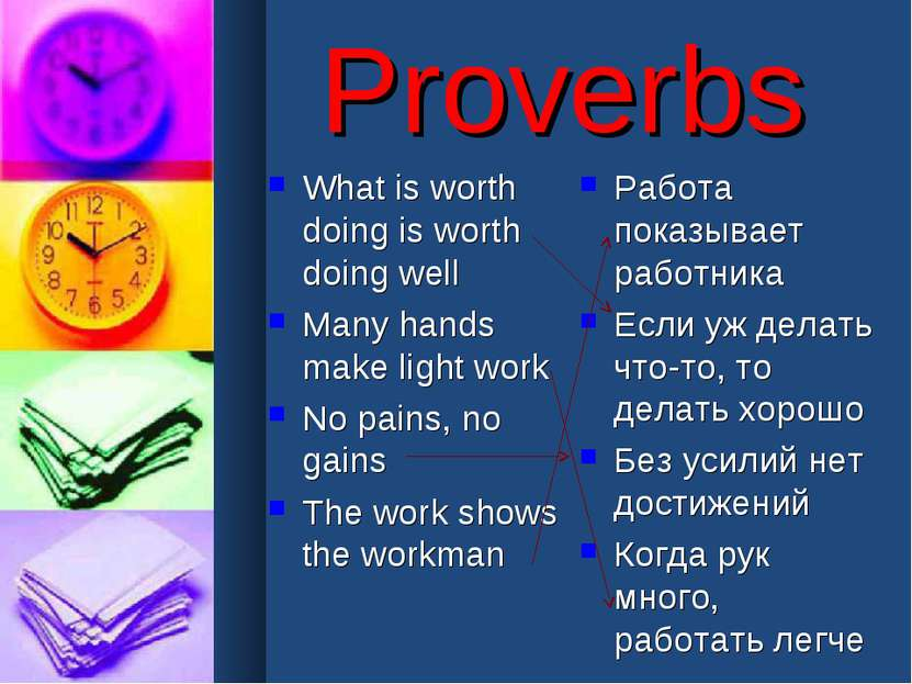 Proverbs What is worth doing is worth doing well Many hands make light work N...