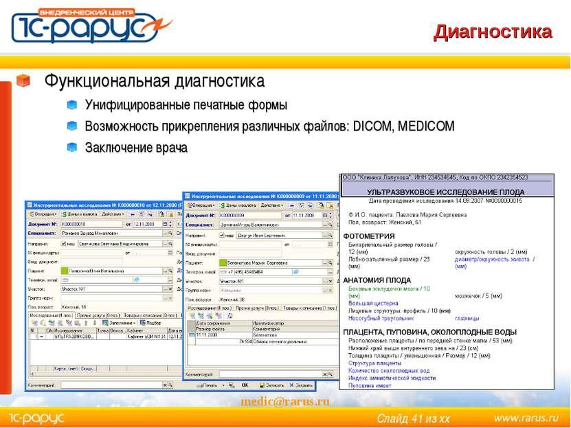medic@rarus.ru Диагностика Функциональная диагностика Унифицированные печатны...