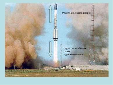 струя раскалённых газов - движение вниз Ракета-движение вверх