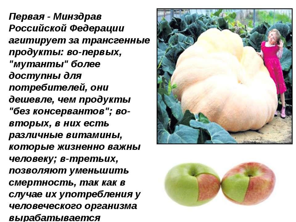 Первая - Минздрав Российской Федерации агитирует за трансгенные продукты: во-...