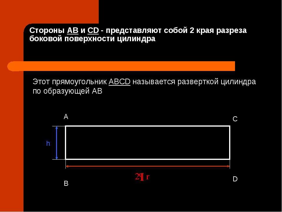 Стороны AB и СD - представляют собой 2 края разреза боковой поверхности цилин...