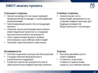 SWOT-анализ проекта Сильные стороны Проект реализуется на существующей промыш...