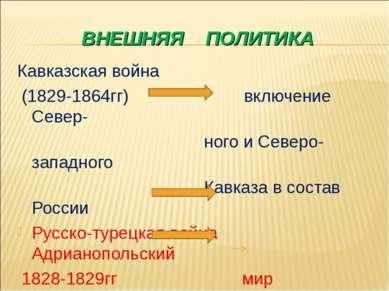 ВНЕШНЯЯ ПОЛИТИКА Кавказская война (1829-1864гг) включение Север- ного и Север...