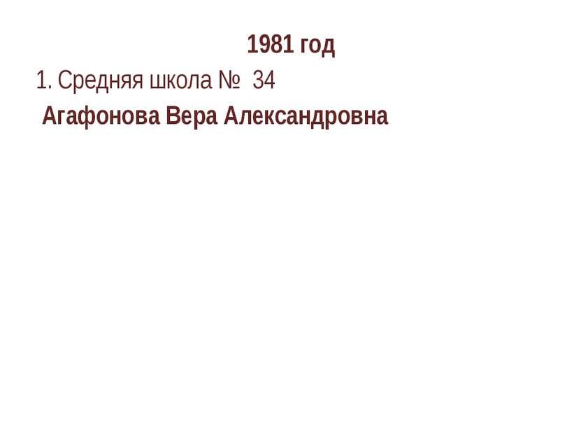 1981 год Средняя школа № 34 Агафонова Вера Александровна