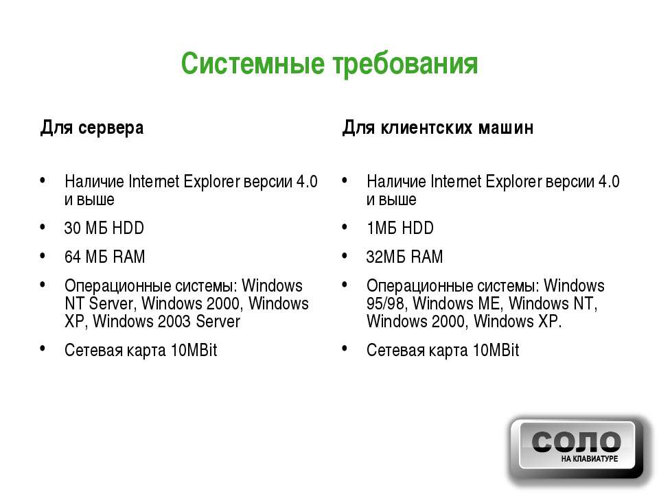 Системные требования Для сервера Наличие Internet Explorer версии 4.0 и выше ...