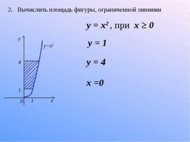 2. Вычислить площадь фигуры, ограниченной линиями 1 1 4 0 x y y=x2 y = 1 y = ...