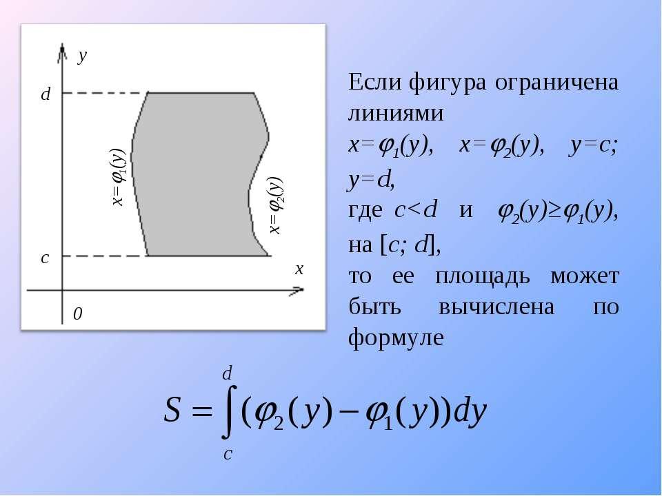 Если фигура ограничена линиями x= 1(y), x= 2(y), y=c; y=d, где c