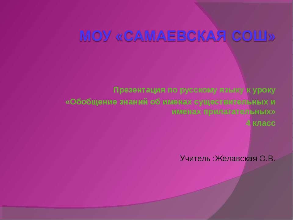 Презентация по русскому языку к уроку «Обобщение знаний об именах существител...