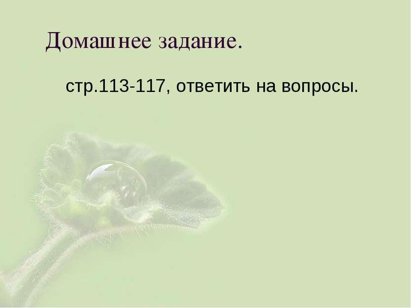 Домашнее задание. стр.113-117, ответить на вопросы.
