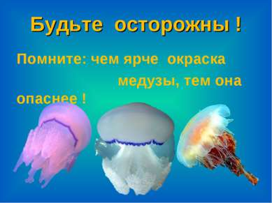 Будьте осторожны ! Помните: чем ярче окраска медузы, тем она опаснее !