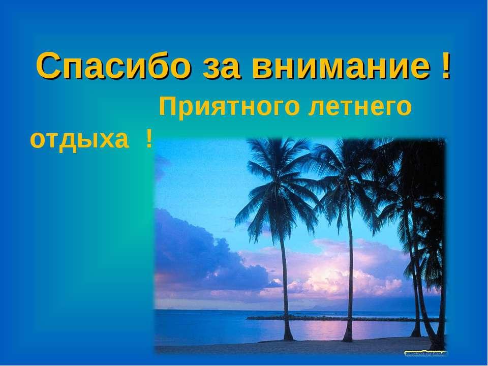 Спасибо за внимание ! Приятного летнего отдыха !