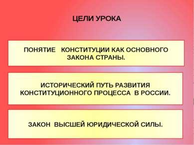 ЦЕЛИ УРОКА ПОНЯТИЕ КОНСТИТУЦИИ КАК ОСНОВНОГО ЗАКОНА СТРАНЫ. ИСТОРИЧЕСКИЙ ПУТЬ...