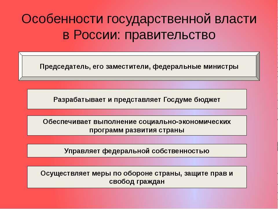 Особенности государственной власти в России: правительство Председатель, его ...