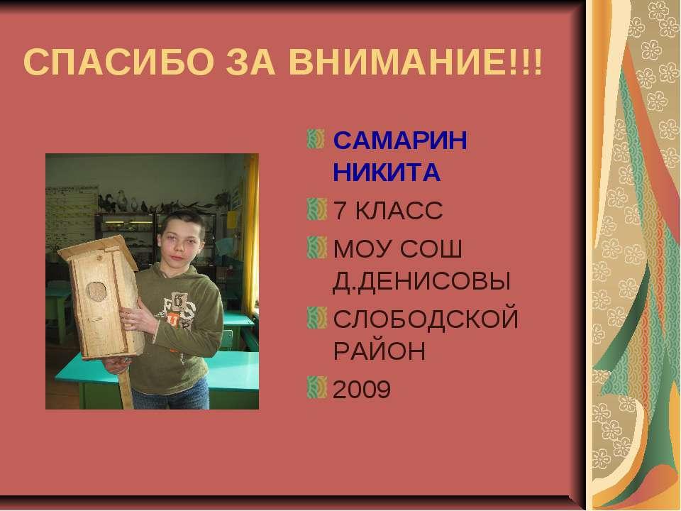СПАСИБО ЗА ВНИМАНИЕ!!! САМАРИН НИКИТА 7 КЛАСС МОУ СОШ Д.ДЕНИСОВЫ СЛОБОДСКОЙ Р...