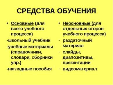 СРЕДСТВА ОБУЧЕНИЯ Основные (для всего учебного процесса) -школьный учебник -у...