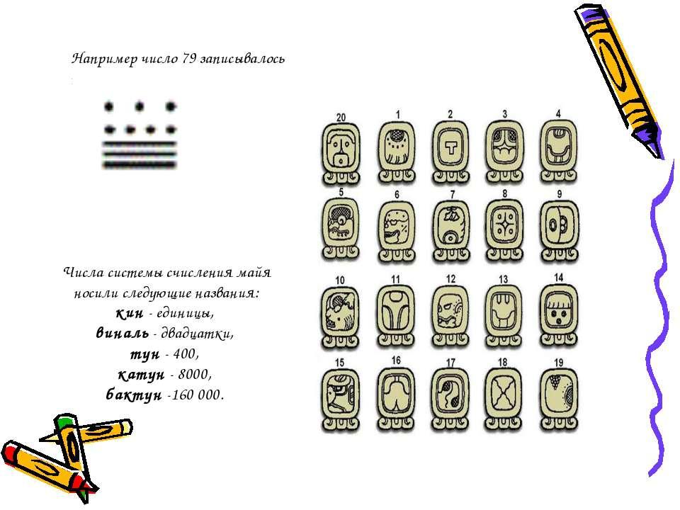 Числа системы счисления майя носили следующие названия: кин - единицы, виналь...