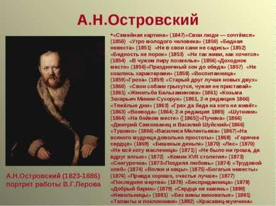 А.Н.Островский А.Н.Островский (1823-1886) портрет работы В.Г.Перова «Семейная...