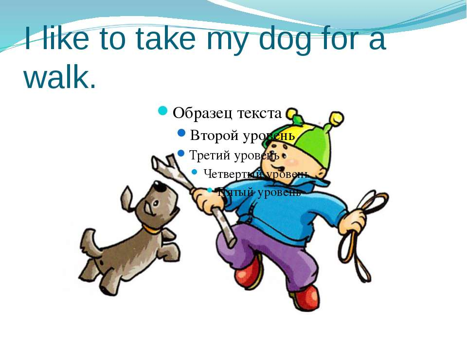 I like to take my dog for a walk.