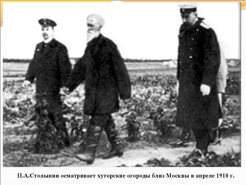 П.А.Столыпин осматривает хуторские огороды близ Москвы в апреле 1910 г.