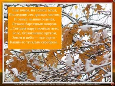 Еще вчера, на солнце млея, Последним лес дрожал листом, И озимь, пышно зелене...