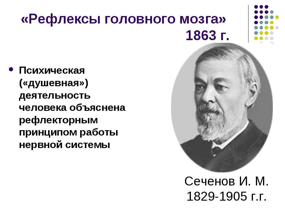 «Рефлексы головного мозга» 1863 г. Психическая («душевная») деятельность чело...