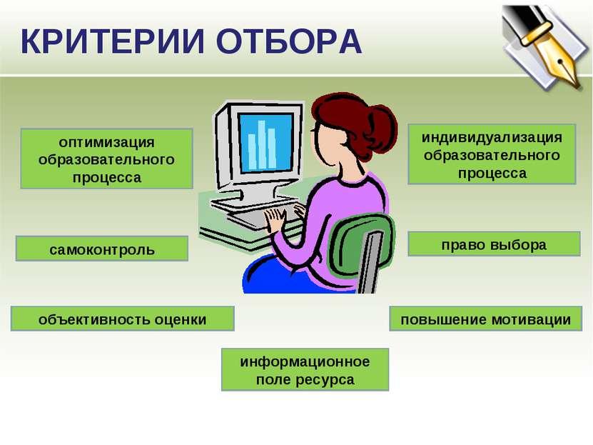 КРИТЕРИИ ОТБОРА оптимизация образовательного процесса самоконтроль повышение ...
