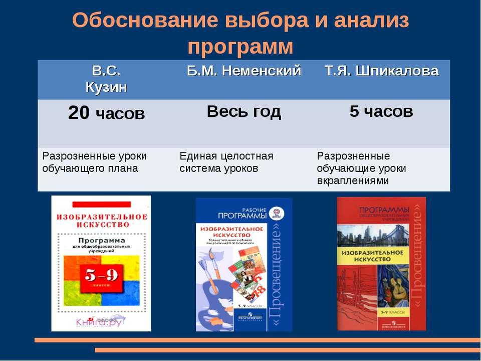 Обоснование выбора и анализ программ В.С. Кузин Б.М. Неменский Т.Я. Шпикалова...