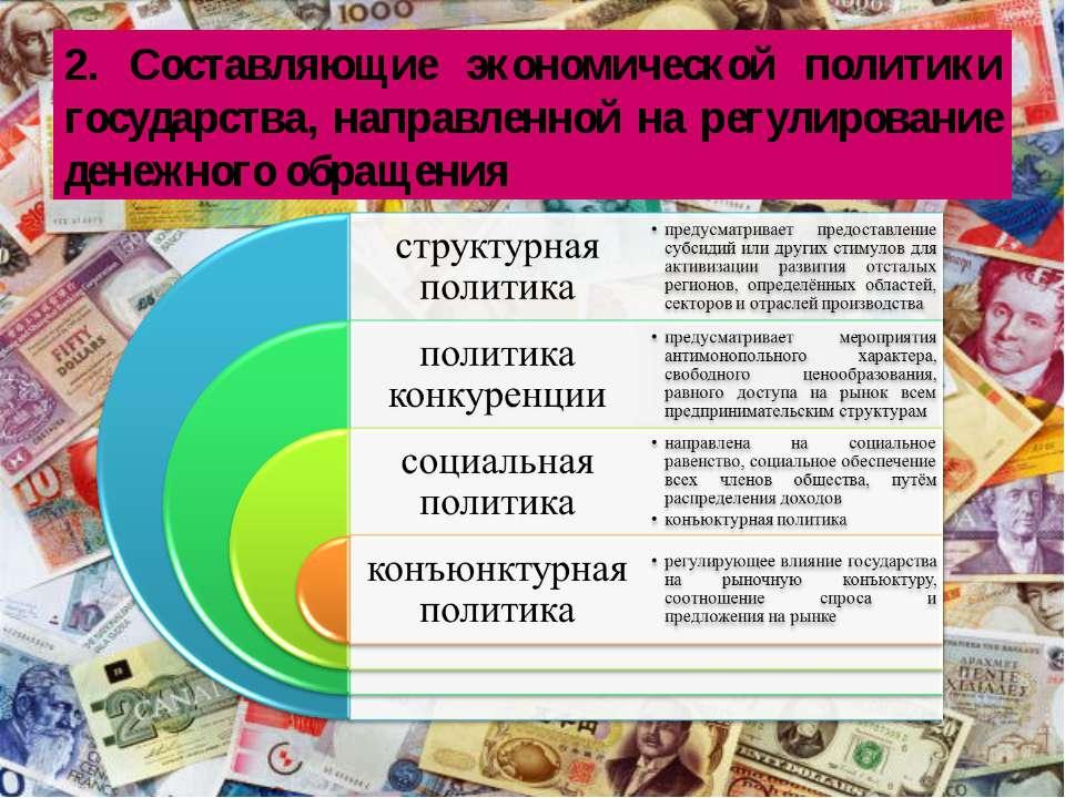 2. Составляющие экономической политики государства, направленной на регулиров...