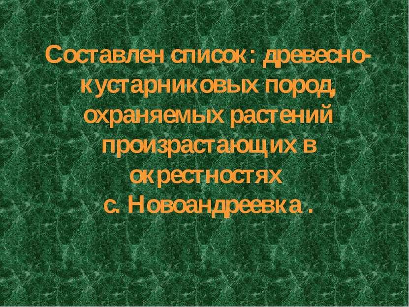 Составлен список: древесно-кустарниковых пород, охраняемых растений произраст...