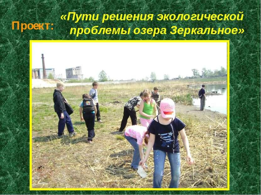 Проект: «Пути решения экологической проблемы озера Зеркальное»