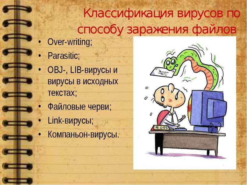 Классификация вирусов по способу заражения файлов Over-writing; Parasitic; OB...