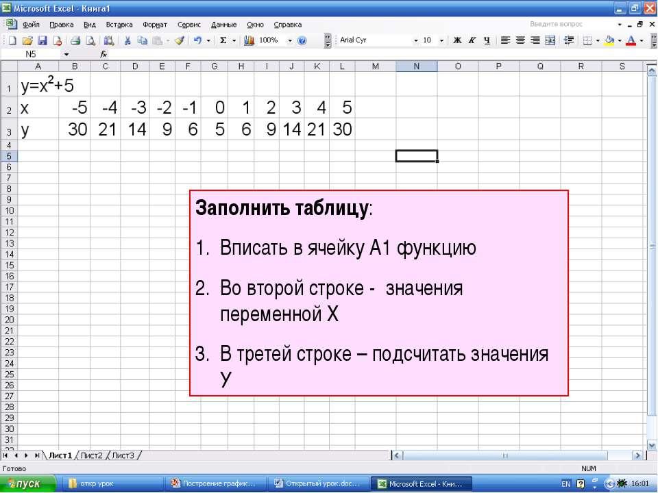 Заполнить таблицу: Вписать в ячейку А1 функцию Во второй строке - значения пе...