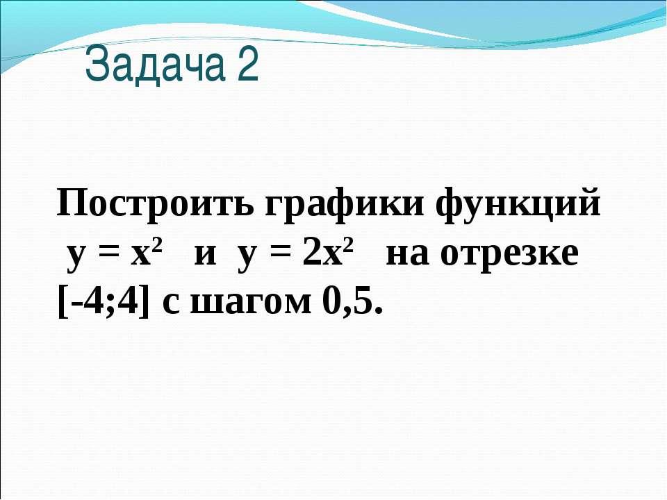 Построить графики функций у = х2 и у = 2х2 на отрезке [-4;4] с шагом 0,5. Зад...