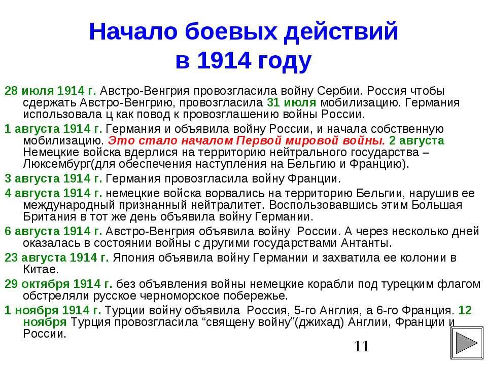 Начало боевых действий в 1914 году 28 июля 1914 г. Австро-Венгрия провозгласи...