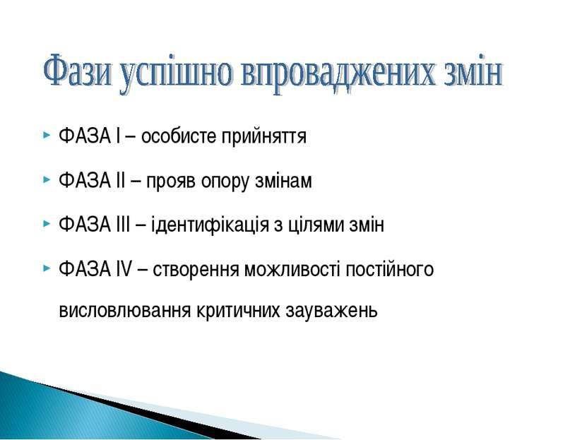 ФАЗА I – особисте прийняття ФАЗА II – прояв опору змінам ФАЗА III – ідентифік...