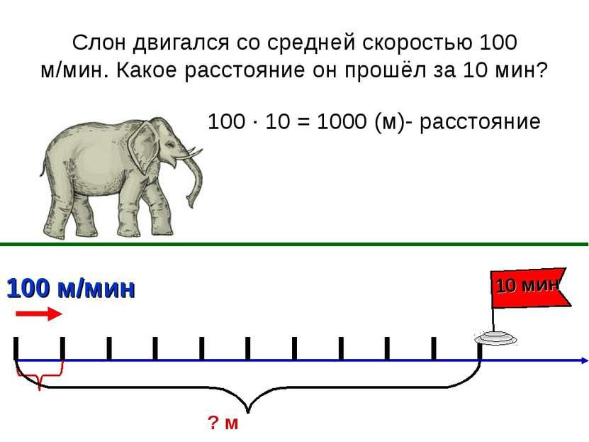 Слон двигался со средней скоростью 100 м/мин. Какое расстояние он прошёл за 1...